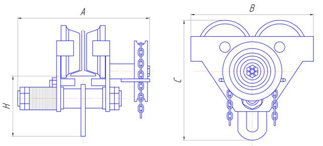 Механизм передвижения тали с цепным приводом